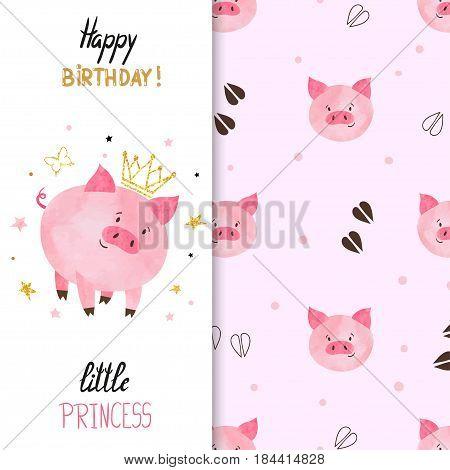 Birthday greeting card design for little girl. Vector illustration of cute little princess pig.