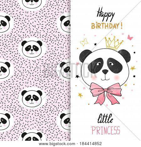 Birthday greeting card design for little girl. Vector illustration of cute little princess panda bear.