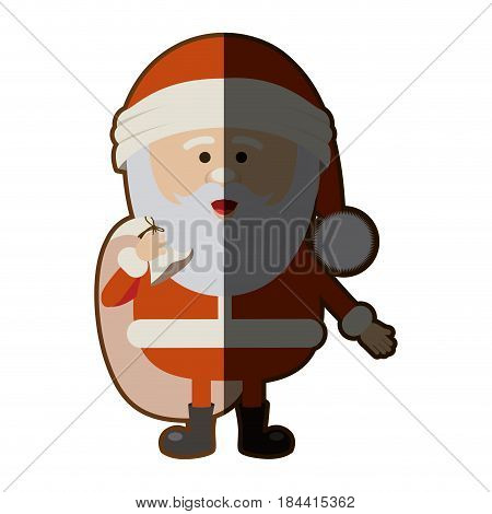 color silhouette of santa claus with gift bag and half shadow vector illustration