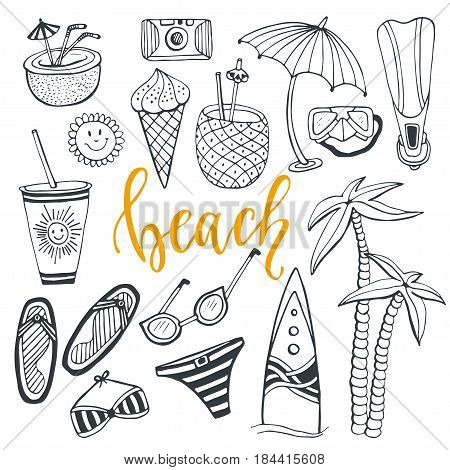 Icon set summer beach holidays. Hand drawn doodle vector illustrations