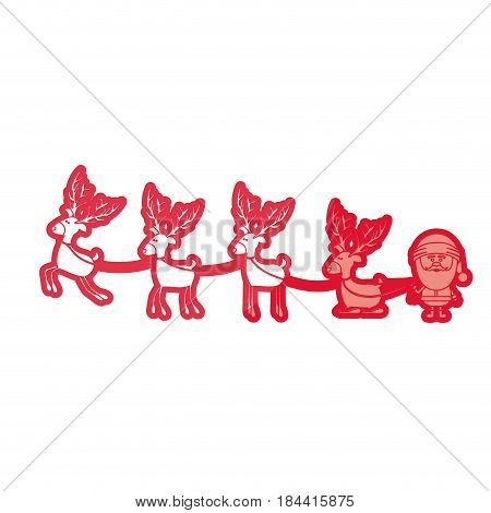 red silhouette caricatures of reindeers and santa claus and half shadow vector illustration