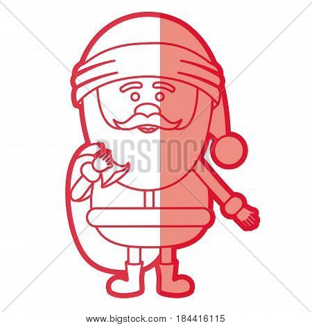 red silhouette of santa claus with gift bag and half shadow vector illustration