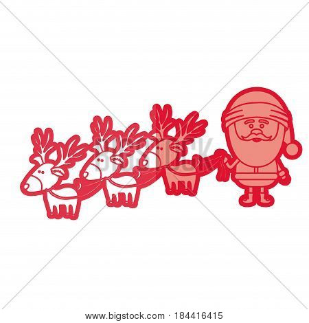 red silhouette caricatures of three reindeers and santa claus and half shadow vector illustration