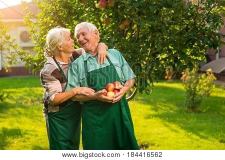 Couple of seniors with apples. Man in apron smiling. Our boundless happiness.