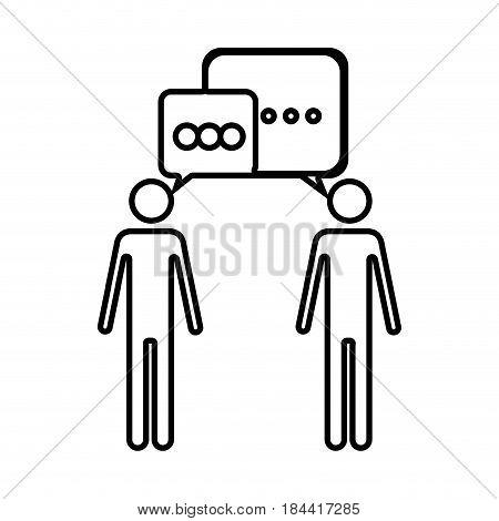 black silhouette of pictogram men's dialogue vector illustration