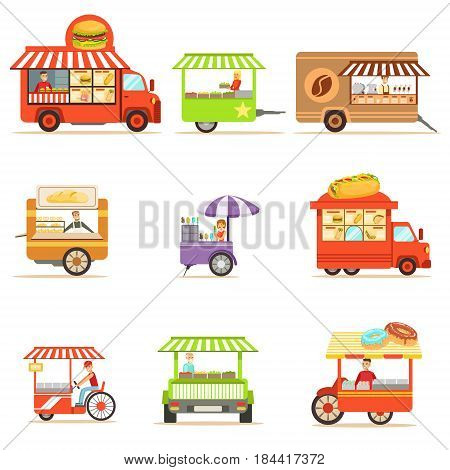 Street Food Kiosk Collection On Wheels And Without With Smiling Vendor Serving Fast Food Vector Illustrations. Smiling People Working In Snack Outdoors Cafe Stand Series Of Cartoon Characters At Work.
