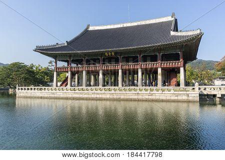 gyeonghoeru pavilion reflections in gyeongbokgung palace in seoul, south korea