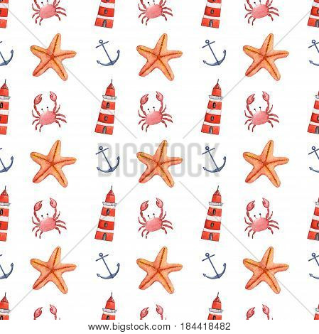 Watercolor hand drawn isolated seamless pattern with crab, anchor, sea star and lighthouse.