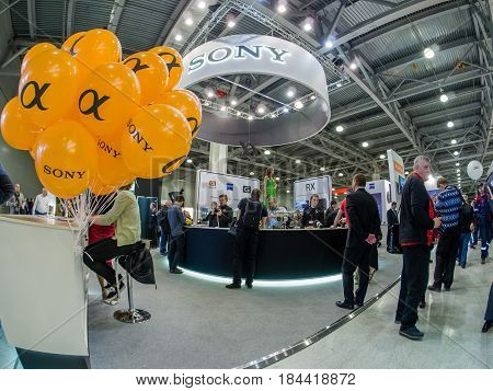 MOSCOW RUSSIA - APRIL 21 2017: Booth of Sony company at PhotoForum 2017 trade show and exhibition in Moscow Russia on April 21 2017.