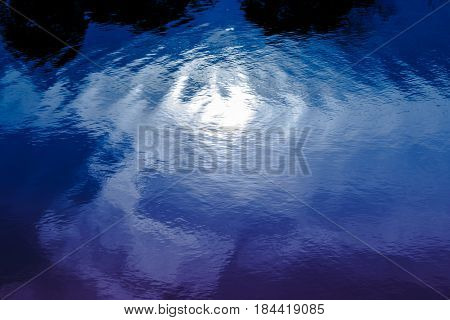 Blue Rippled Water Detail And Reflection Of The Bright Moon In River. Outdoor At Night.