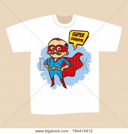 T-shirt Print Design Superhero Grandpa Sticker Vector Illustration