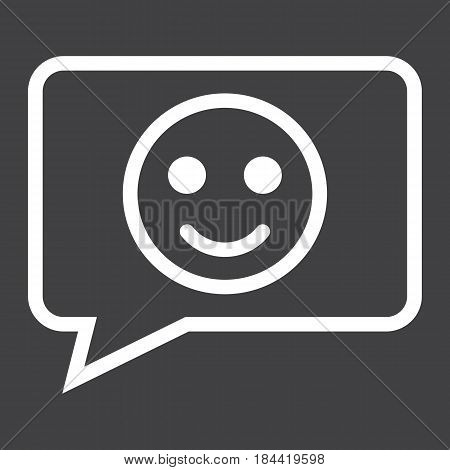 Comment with smile line icon, feedback and website button, vector graphics, a linear pattern on a black background, eps 10.