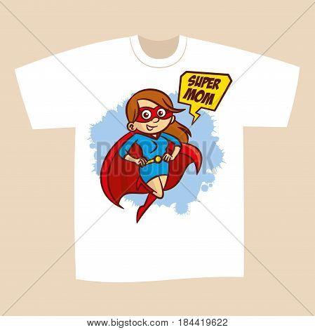 T-shirt Print Design Superhero Mom Sticker Vector Illustration