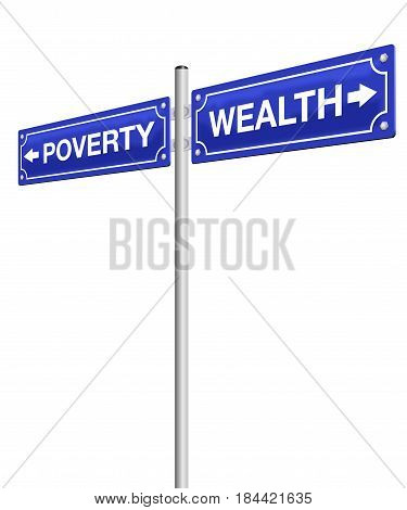 WEALTH and POVERTY, written on two road signs in opposite directions, symbolic for rich and poor life. Isolated vector illustration on white background.