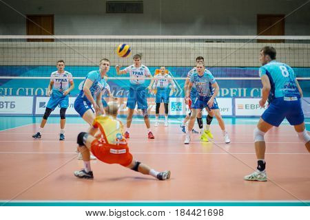 MOSCOW - NOV 5, 2016: Players at volleyball game Dynamo (Moscow) and Ural (Ufa) in Palace of Sports Dynamo