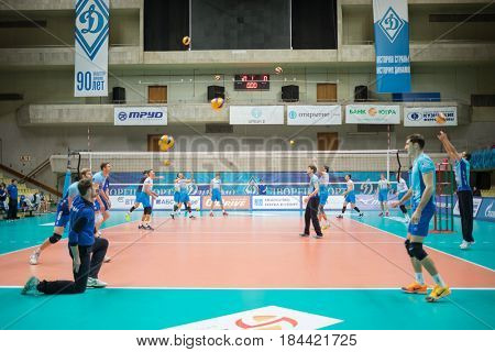 MOSCOW - NOV 5, 2016: Preparing for volleyball game Dynamo (Moscow) and Ural (Ufa) in Palace of Sports Dynamo