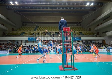 MOSCOW - NOV 5, 2016: Athletes and referee at volleyball game Dynamo (Moscow) and Ural (Ufa) in Palace of Sports Dynamo