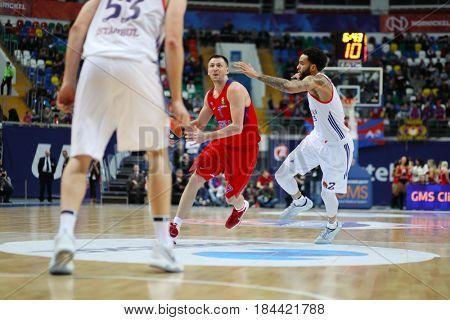 MOSCOW - JAN 27, 2017: Basketball match CSKA (Moscow) - Anadolu Efes (Istanbul) in Megasport stadium