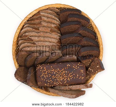 Wicker Basket, Breadbasket, Bread-plate With Slices Of Dark Bread Isolated On A White Background. To