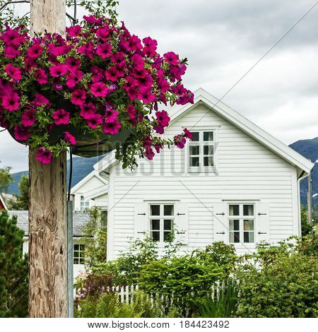 Traditional Scandinavian country house in village, Norway.