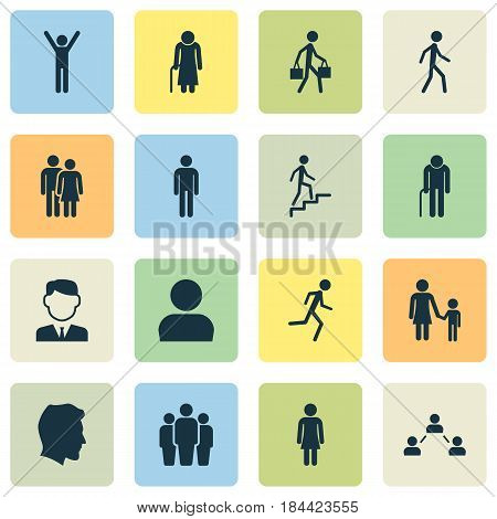 People Icons Set. Collection Of Jogging, Family, Beloveds And Other Elements. Also Includes Symbols Such As Mister, Person, Unity.
