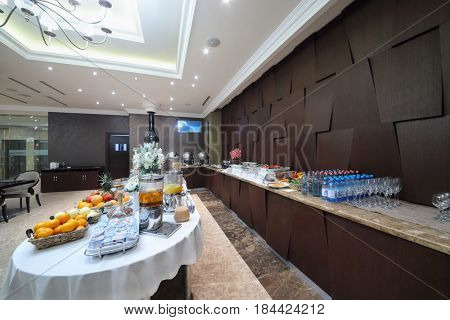 YEREVAN, ARMENIA - JAN 6, 2017: Buffet in restaurant in Hotel National, created in business style, comfortable hotel allows every guest to feel welcome