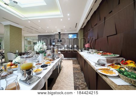 YEREVAN, ARMENIA - JAN 6, 2017: Buffet in Hotel National, created in business style, comfortable hotel allows every guest to feel welcome