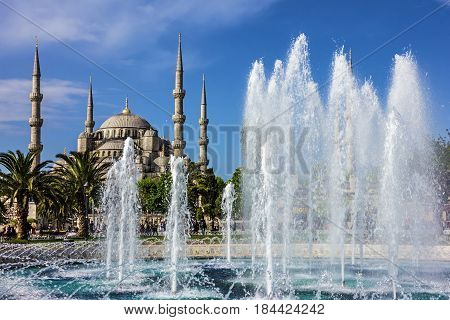 Istanbul, Turkey - May 2, 2017: Sultanahmet mosque in Istanbul, Turkey.