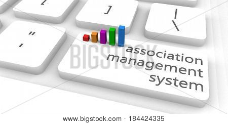 Association Management System or AMS as Concept 3D Illustration Render