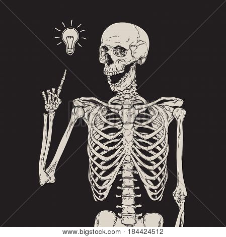Human skeleton has an idea isolated over black background vector illustration.