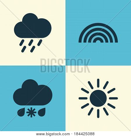 Nature Icons Set. Collection Of Sun, Douche, Colors And Other Elements. Also Includes Symbols Such As Rain, Sleet, Sun.