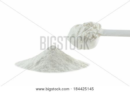 Collagen powder isolated on white background. with clipping path