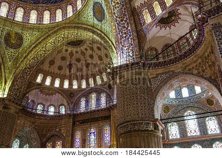Istanbul, Turkey - May 7, 2017: Internal view of Blue Mosque Sultanahmet, Istanbul, Turkey