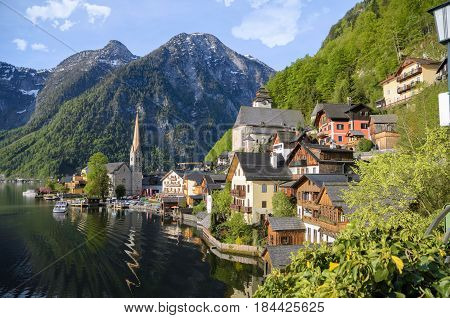 Beautiful Houses At The Lake In Hallstatt.