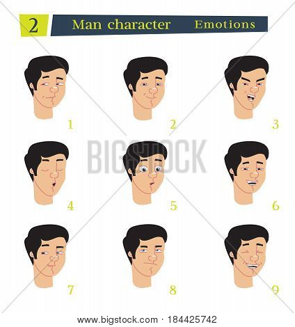 Man character for your scenes.Character ready for animation. Businessman cartoon.Vector illustration isolated on white background. Set for speaks animations.