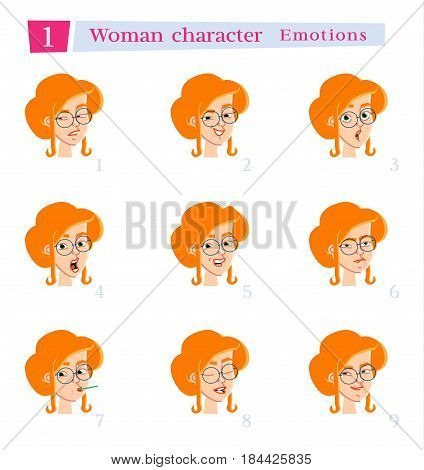 Woman character for your scenes.Character ready for animation. Businessman cartoon.Vector illustration isolated on white background. Set for speaks animations.
