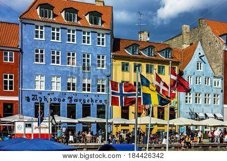 COPENHAGEN, DENMARK - MAY 1, 2017: Seafront Nyhavn in the center of Copenhagen, Denmark