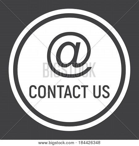 Email address solid icon, contact us and website button, vector graphics, a filled pattern on a black background, eps 10.