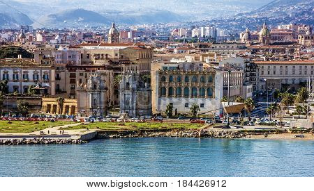 Palermo city panoramic view, Sicily, Italy. Seafront view