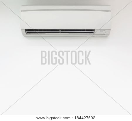 Air conditioner on white wall background. copy space