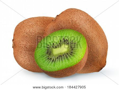Isolated kiwi. One kiwi fruit cut in halves isolated on white background with clipping path.