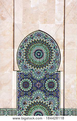 Casablanca, Morocco. Decoration of Mosque Hassan II