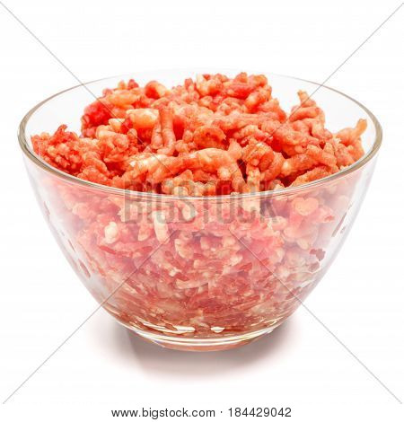 Minced meat of stuffing in glass bowl isolated on white background