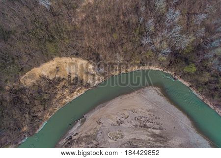 The View From The Top. Landscape On The Shore Of The Winding River
