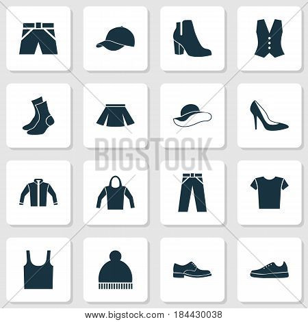 Garment Icons Set. Collection Of Waistcoat, Singlet, Trilby And Other Elements. Also Includes Symbols Such As Skirt, Beanie, Woman.