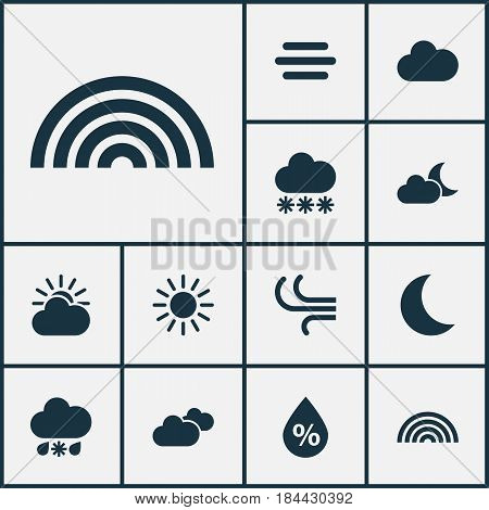 Meteorology Icons Set. Collection Of Snowy, Wet, Moisture And Other Elements. Also Includes Symbols Such As Snow, Overcast, Weather.