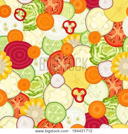 Vegetable seamless pattern. A repeating background of sliced various vegetables. Vector illustration.