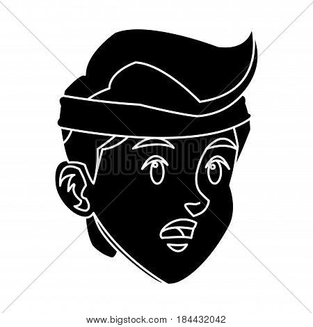 head boy young facial expression silhouette vector illustration