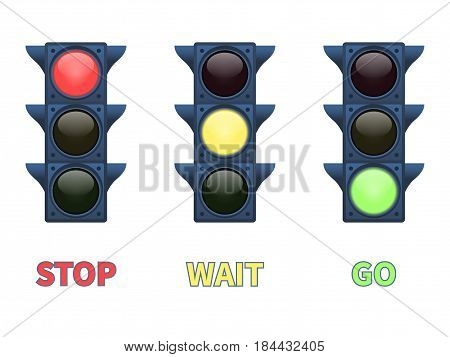 Vector illustration of a multi-colored signal traffic light. Isolated on white background. The meaning of the sign is to go, wait, stop. Indication of the color of the traffic light.