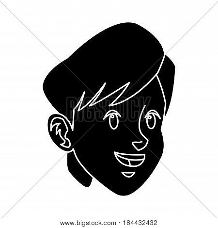 head boy young facial expression silhouette line vector illustration